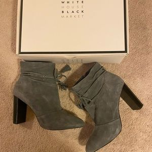 WHBM gray suede slouched booties size 8